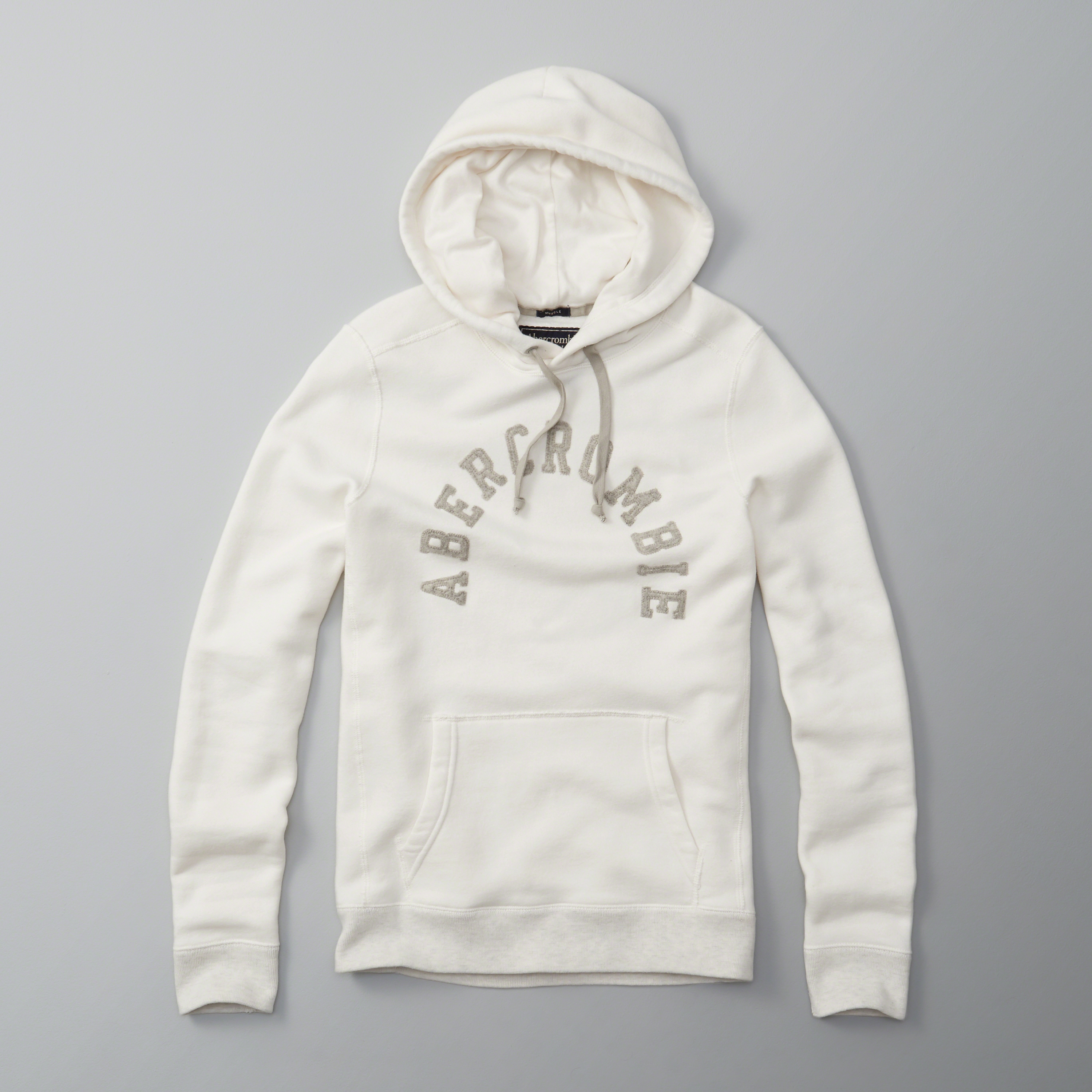 Abercrombie & Fitch Logo Hoodie In White For Men