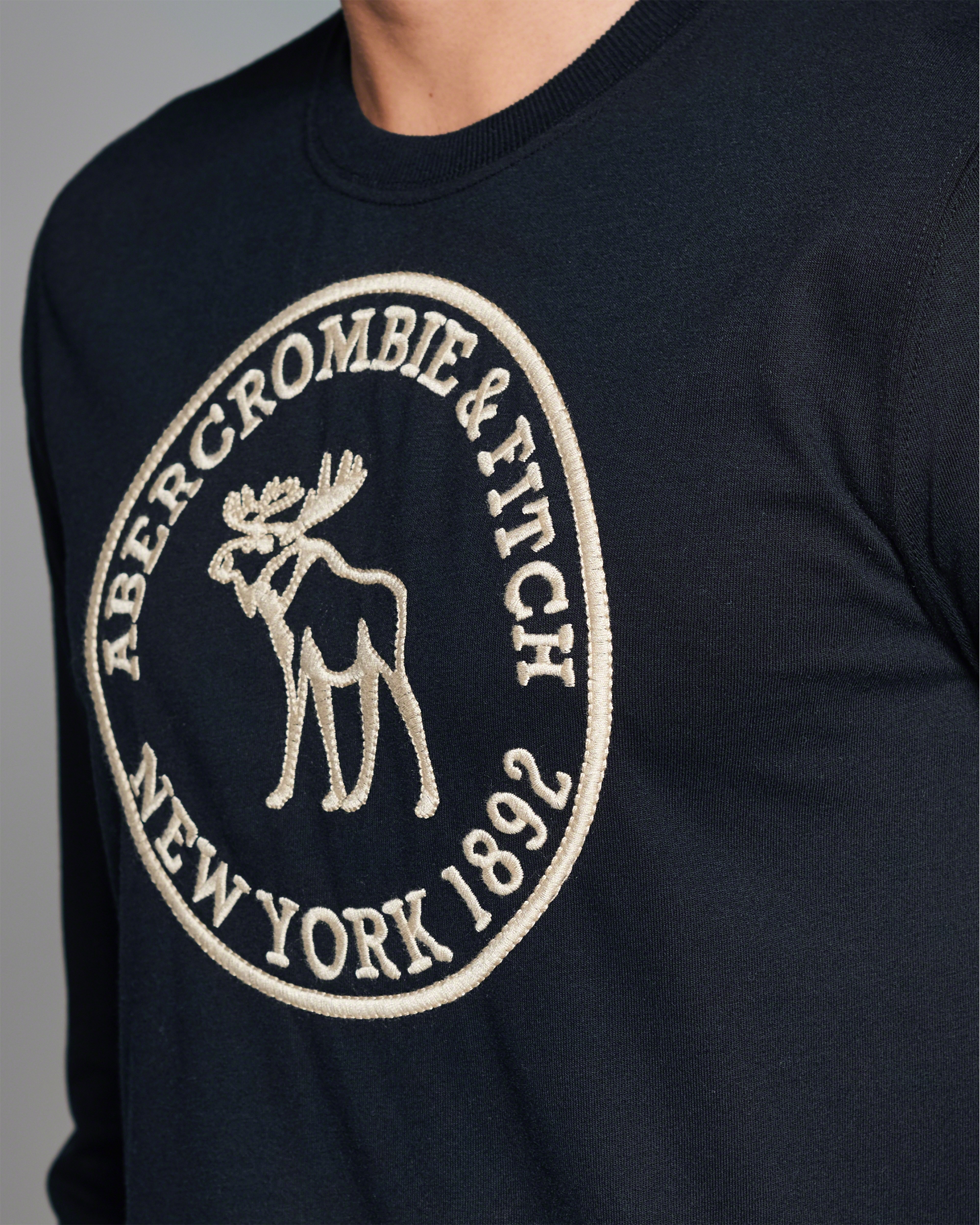 Lyst abercrombie fitch heritage logo long sleeve tee for Abercrombie salon supplies