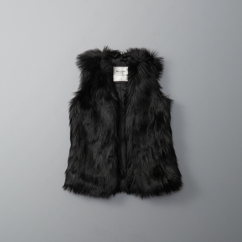 Abercrombie & fitch Faux Fur Vest in Black | Lyst