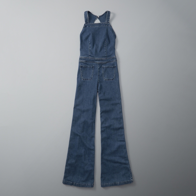 24d01df38bcf Lyst - Abercrombie   Fitch Denim Flare Jumpsuit in Blue
