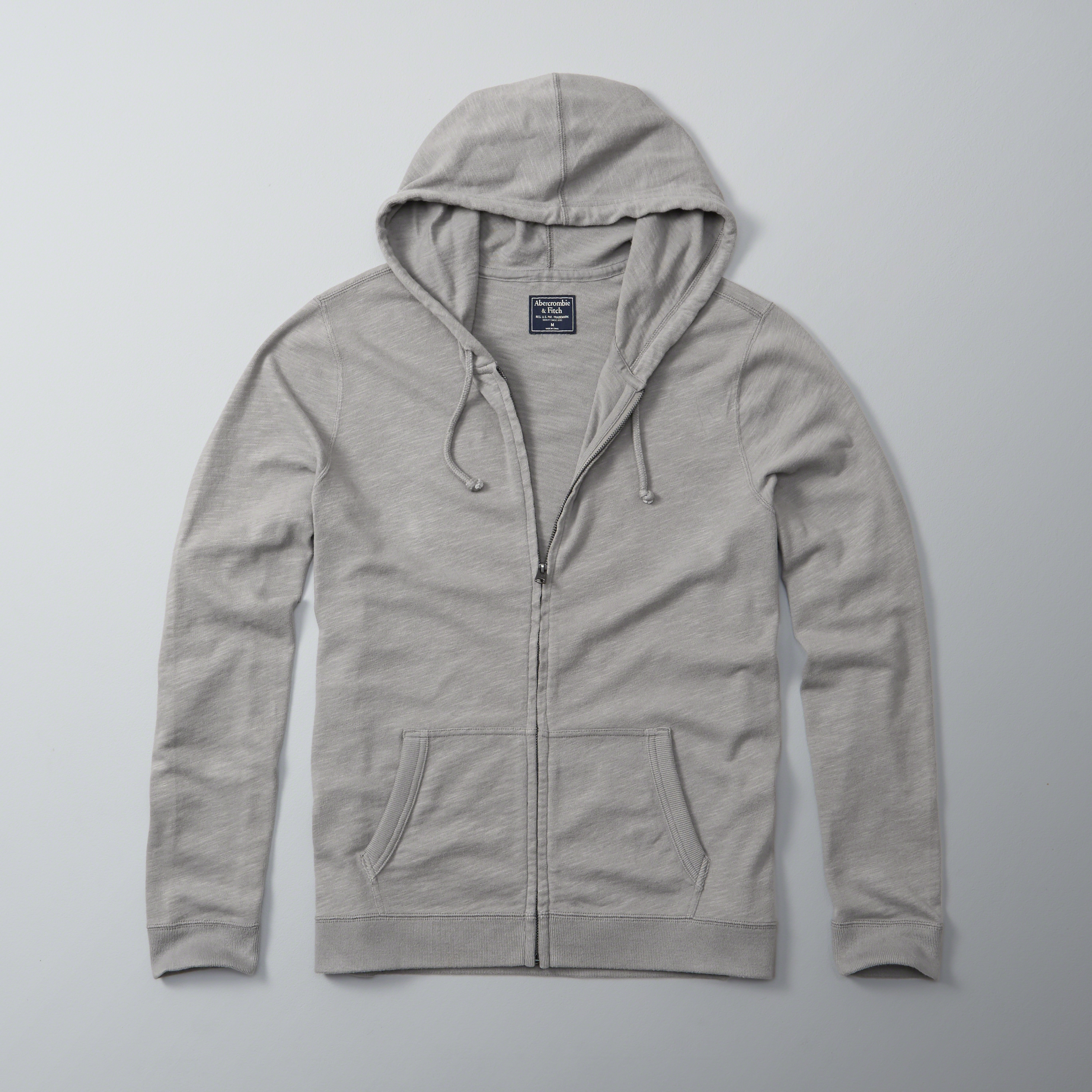 Abercrombie & Fitch Full-zip Hoodie In Gray For Men