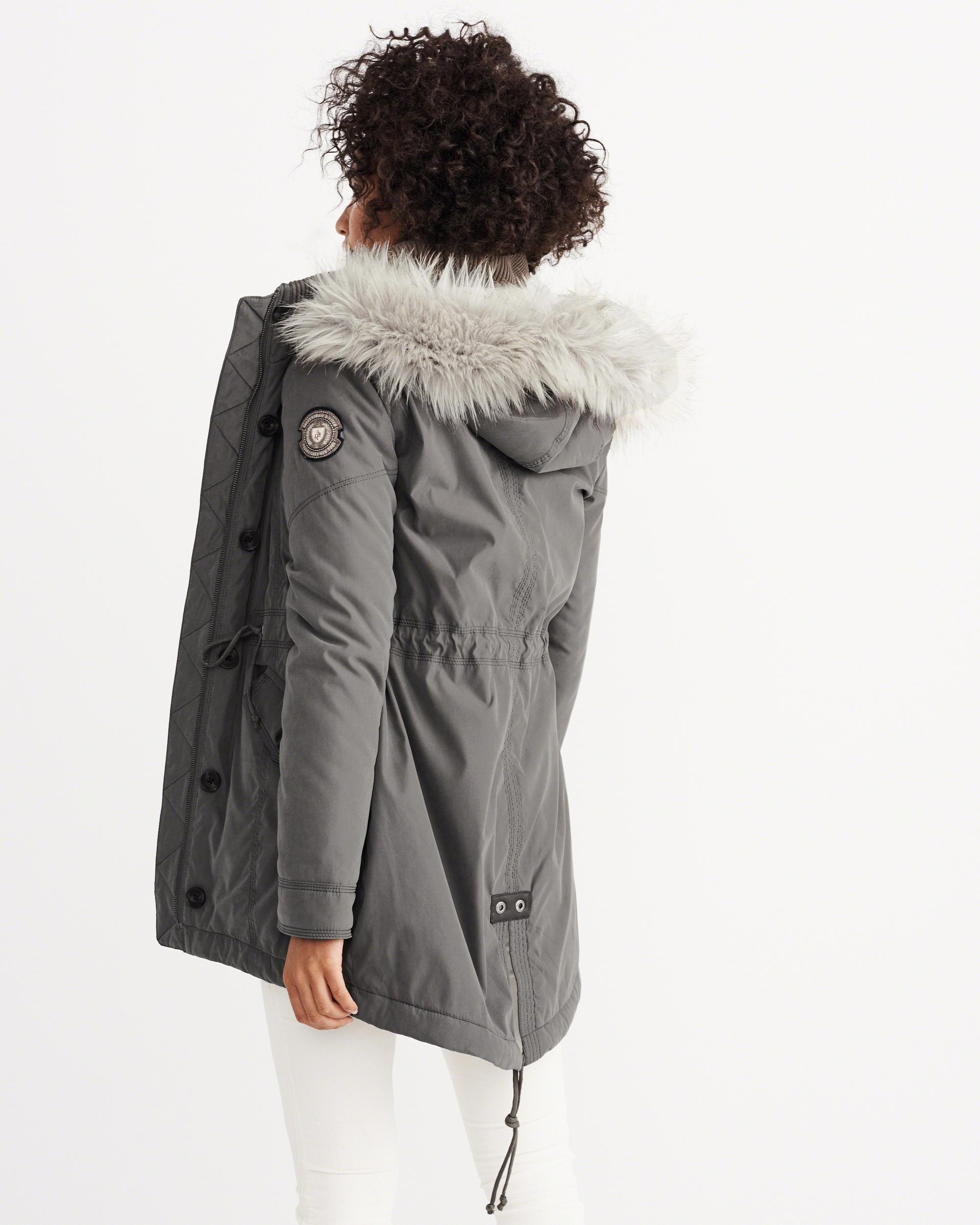 Abercrombie & fitch Sherpa-lined Military Parka in Gray | Lyst