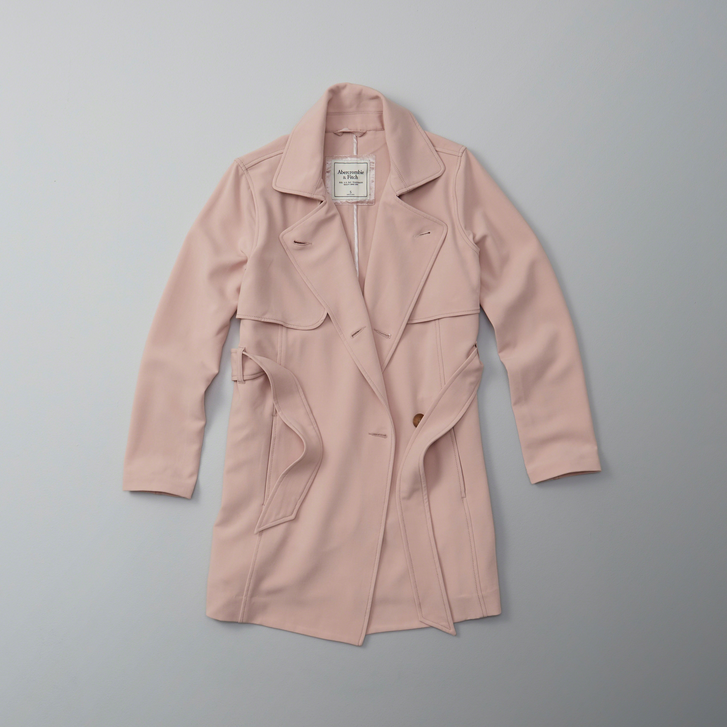 Lyst Abercrombie Amp Fitch Trench Coat In Pink