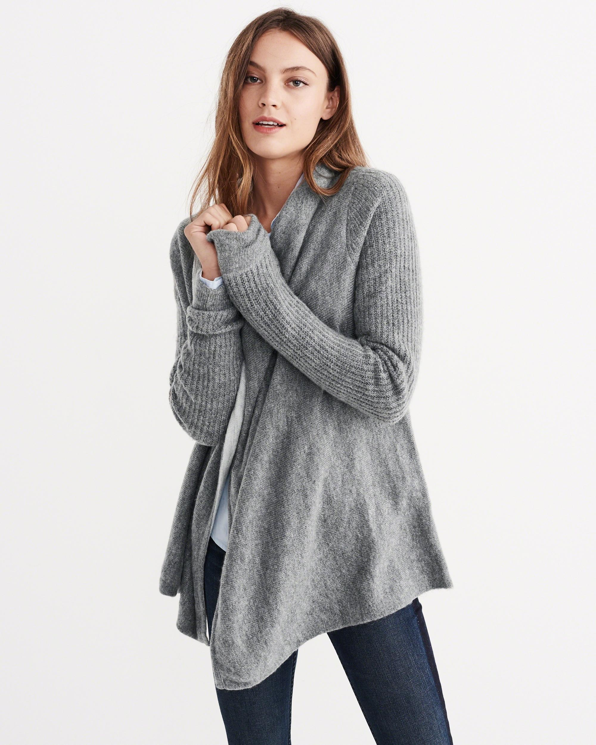 Abercrombie & fitch Stitch Mix Blanket Cardigan in Gray | Lyst