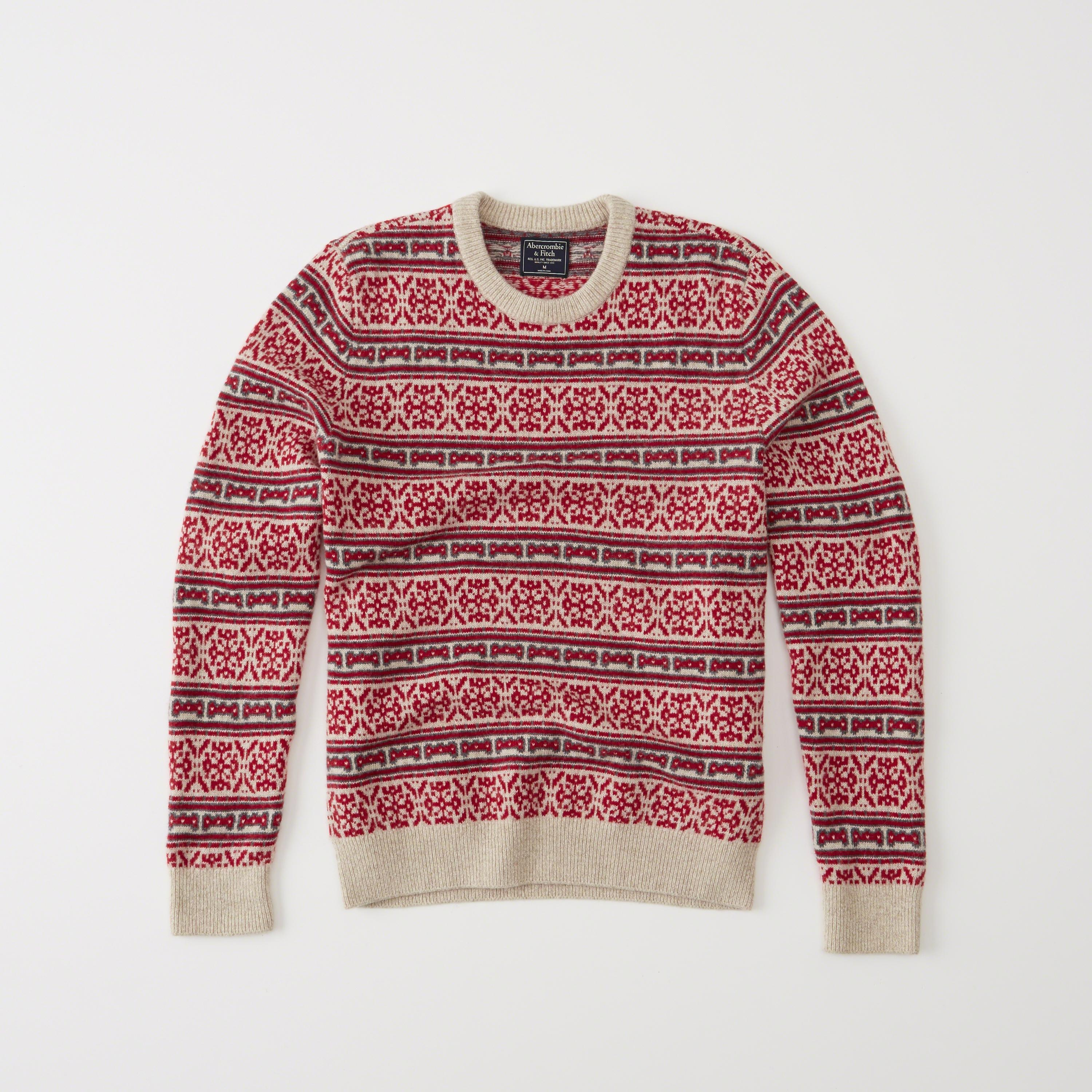 Abercrombie & fitch Snowflake Crew Sweater in Red for Men | Lyst