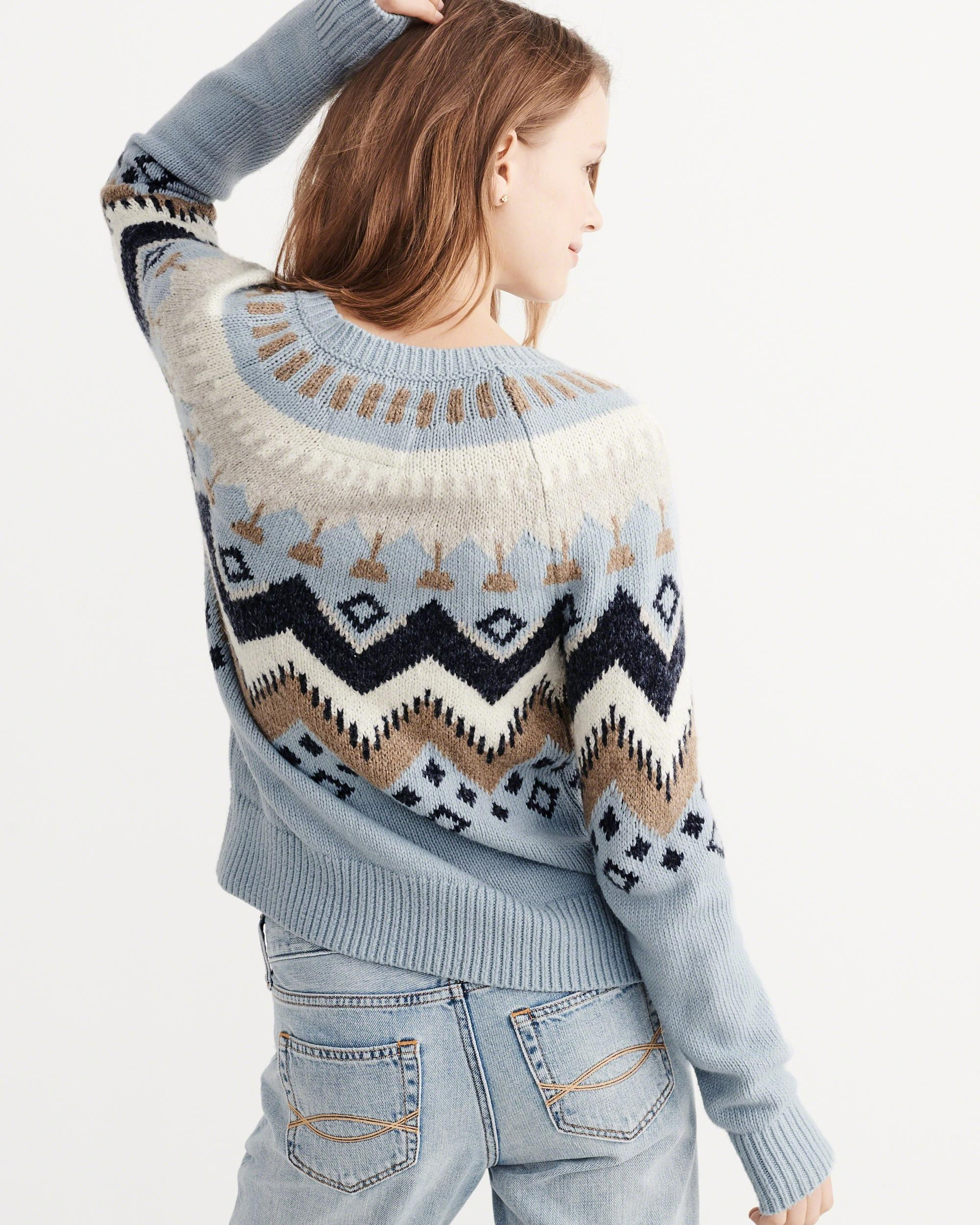 Abercrombie & fitch Fair Isle Pullover Sweater in Blue | Lyst