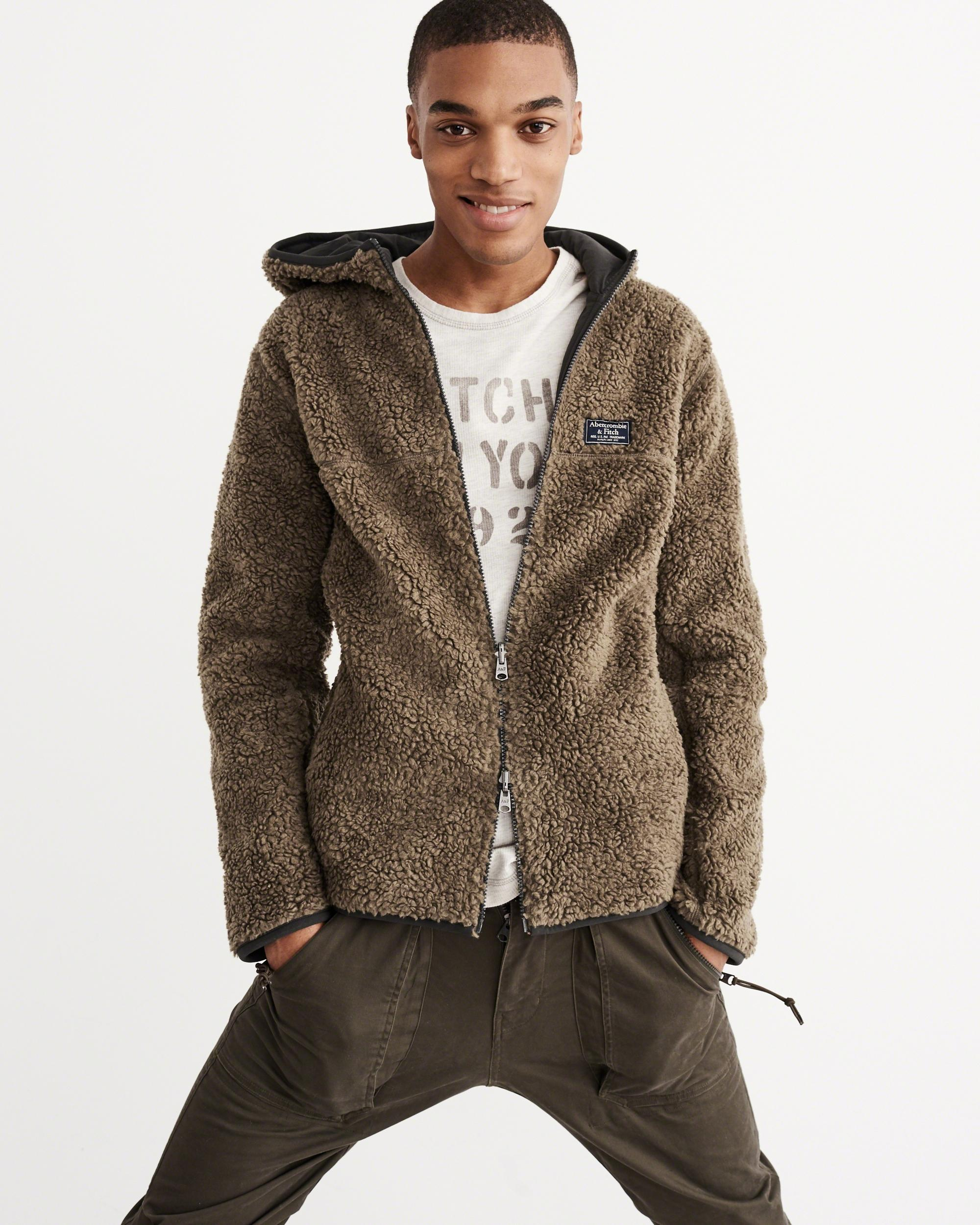 Abercrombie & Fitch Reversible Sherpa Full-zip Jacket In