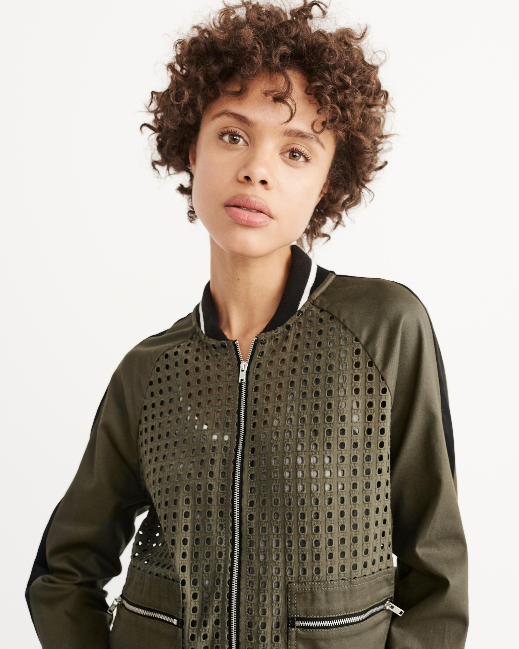 2608eb321 Lyst - Abercrombie & Fitch Eyelet Bomber Jacket in Green