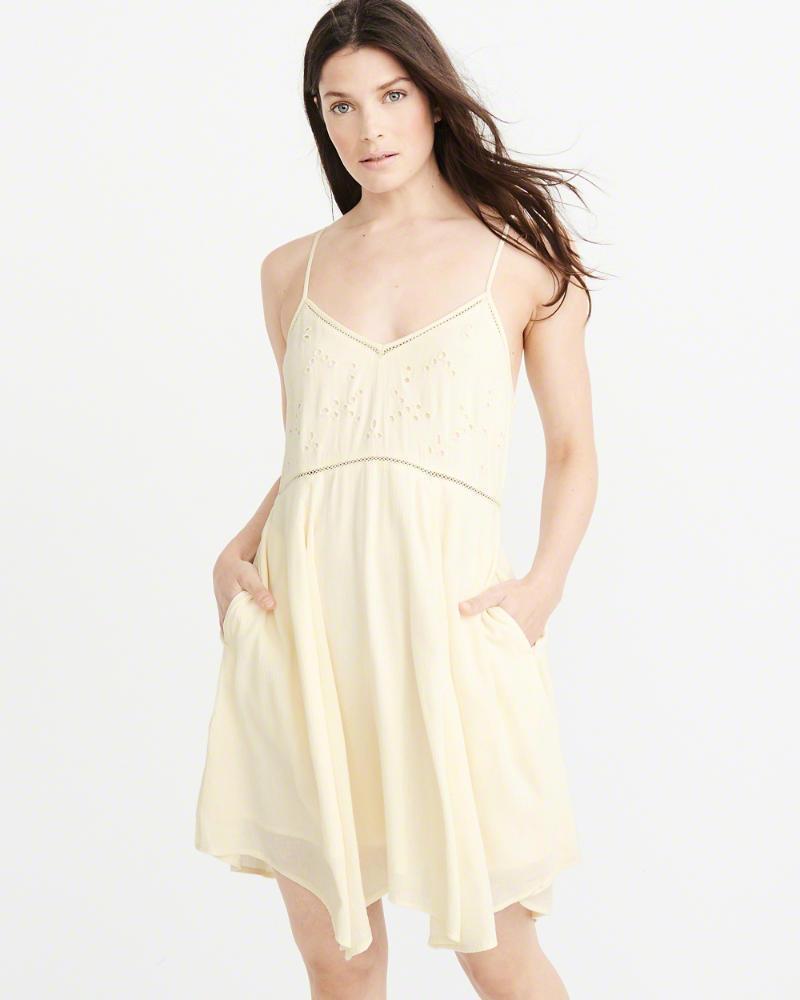 76fec071ce72 Lyst - Abercrombie & Fitch A&f Cutout Swing Dress in Yellow