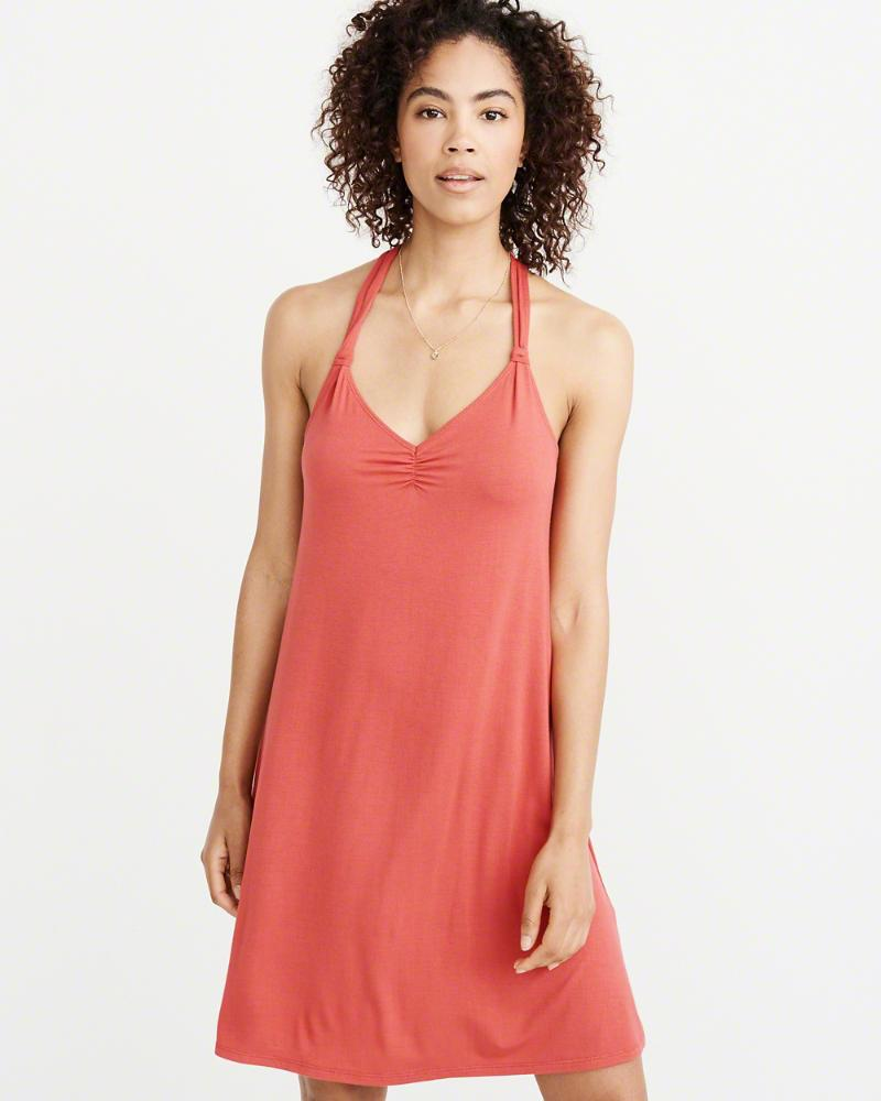 46ef5fddb6ec Lyst - Abercrombie & Fitch A&f Back-knot Swing Dress in Red