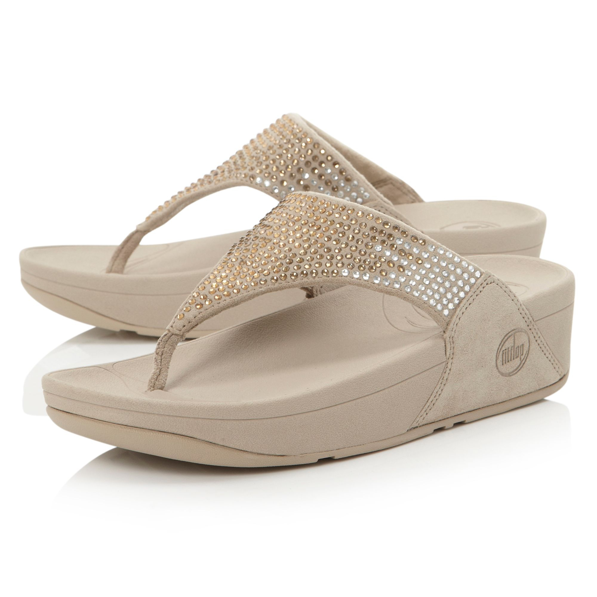 fitflop flare sequin t post wedge sandals in metallic lyst