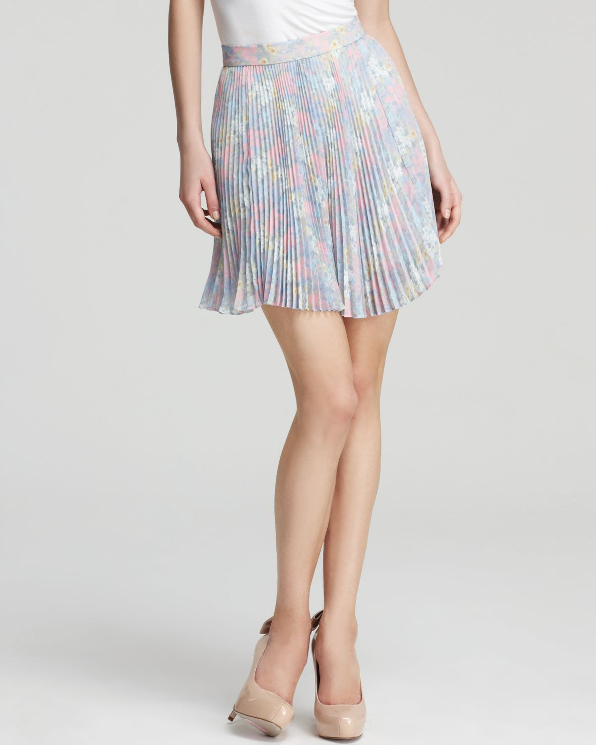pleated skirt high waist in floral mini