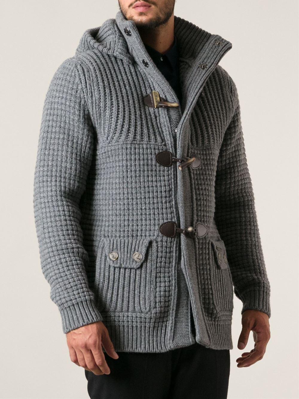 Bark Knitted Short Duffle Coat in Gray for Men   Lyst