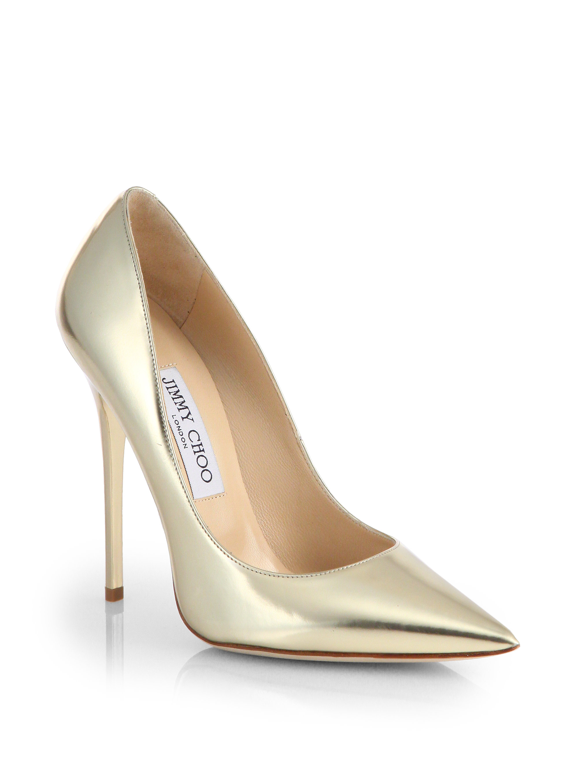 6bfd67441925 ... where to buy lyst jimmy choo anouk metallic leather point toe pumps in  metallic d1e61 6863f ...
