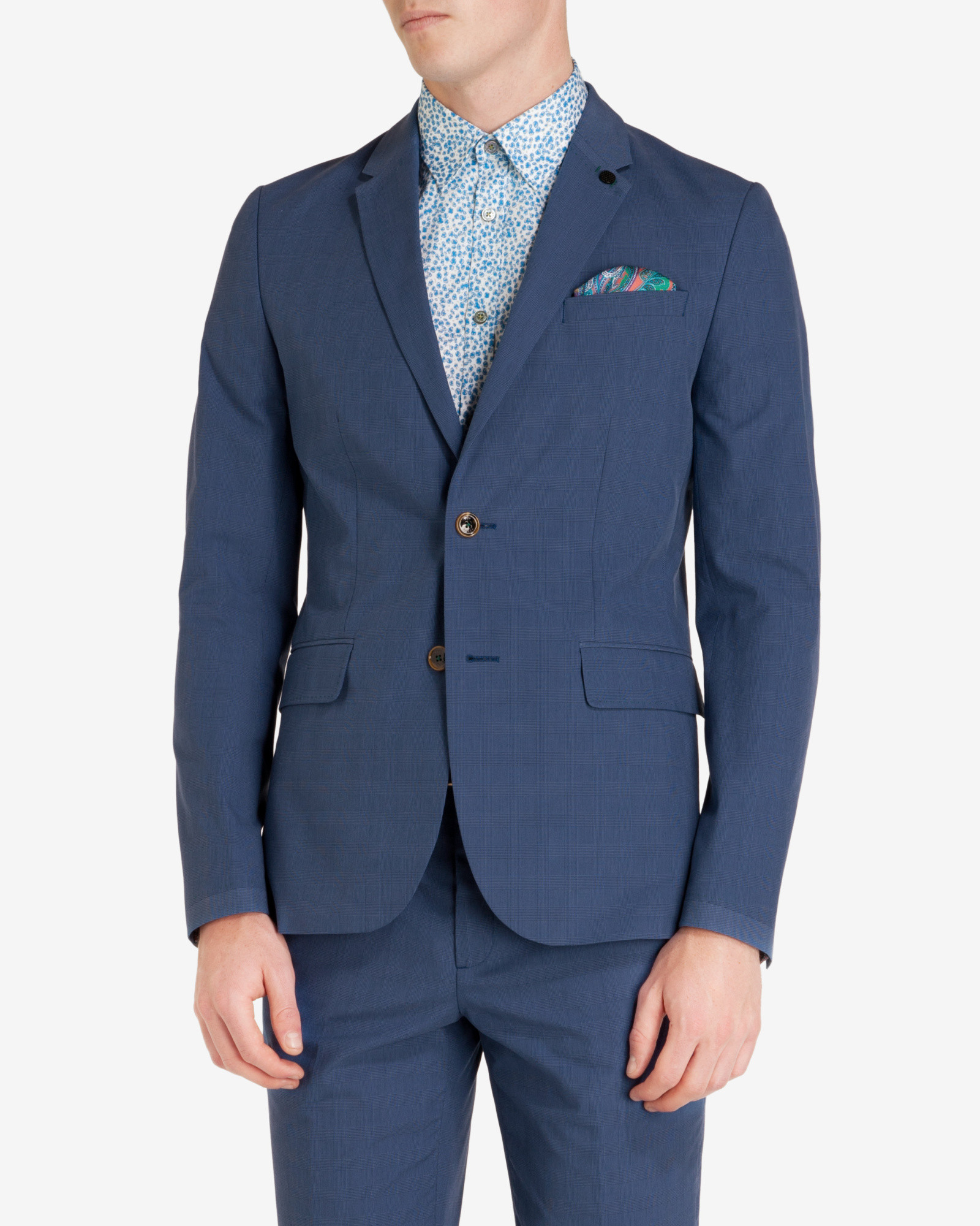 fdb006f74fc6 Ted Baker Reegal Checked Cotton Blazer in Blue for Men - Lyst