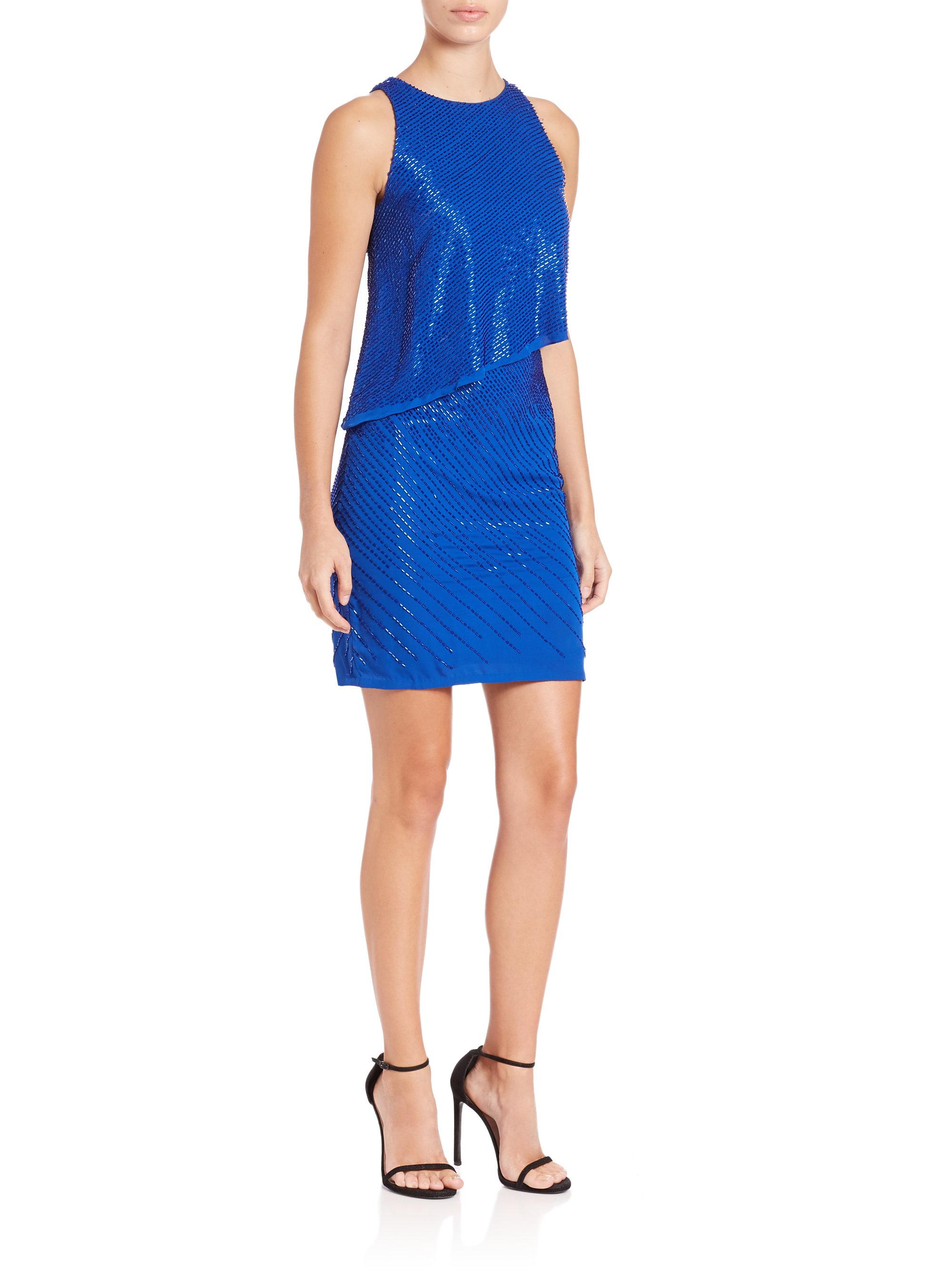 aidan mattox beaded cocktail dress in blue lyst