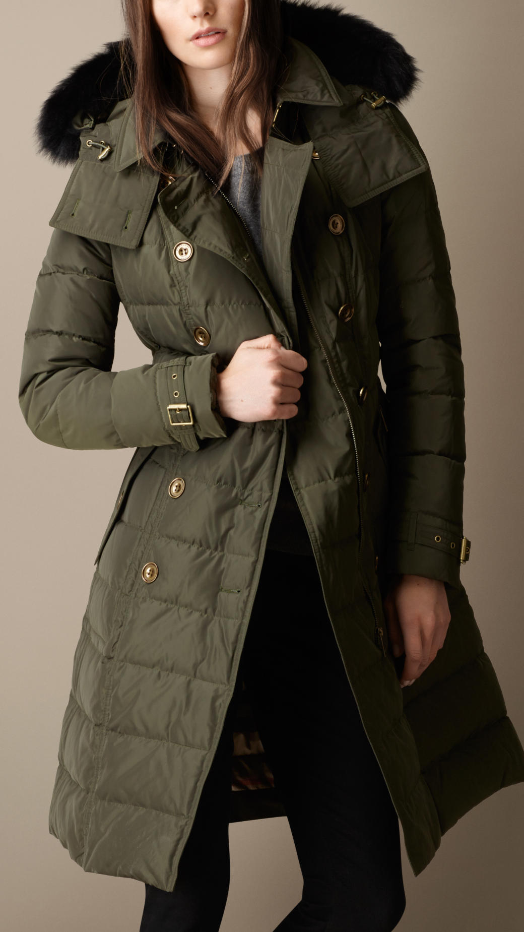 Burberry Down-Filled Coat With Fur Trim in Green | Lyst