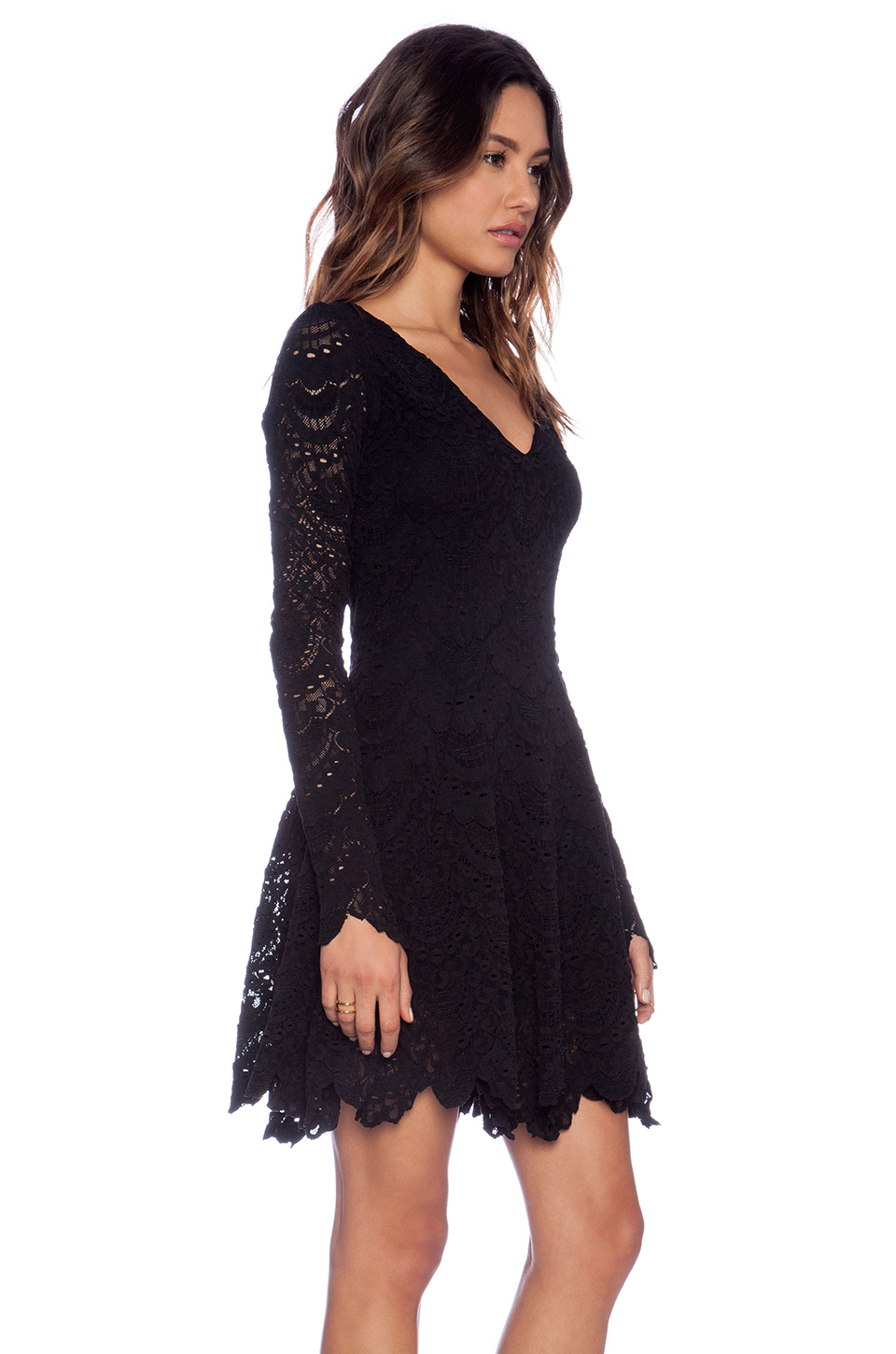 Lyst Nightcap Spanish Lace Fit And Flare Dress In Black
