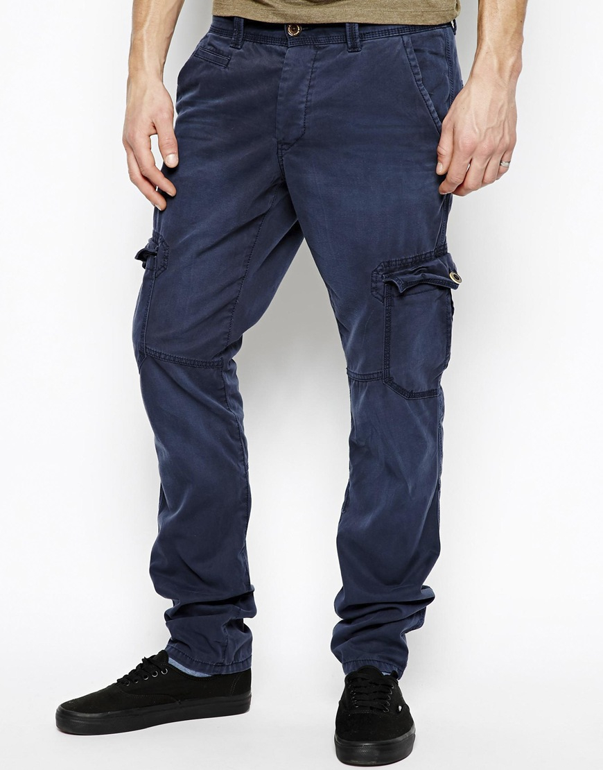Esprit Slim Fit Cargo Pants in Blue for Men | Lyst