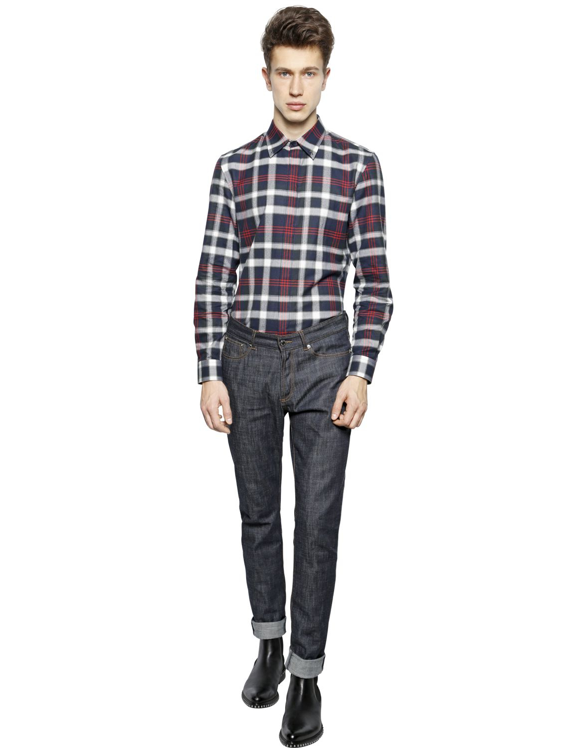 givenchy 17 slim fit plaid cotton flannel shirt in blue for men lyst. Black Bedroom Furniture Sets. Home Design Ideas