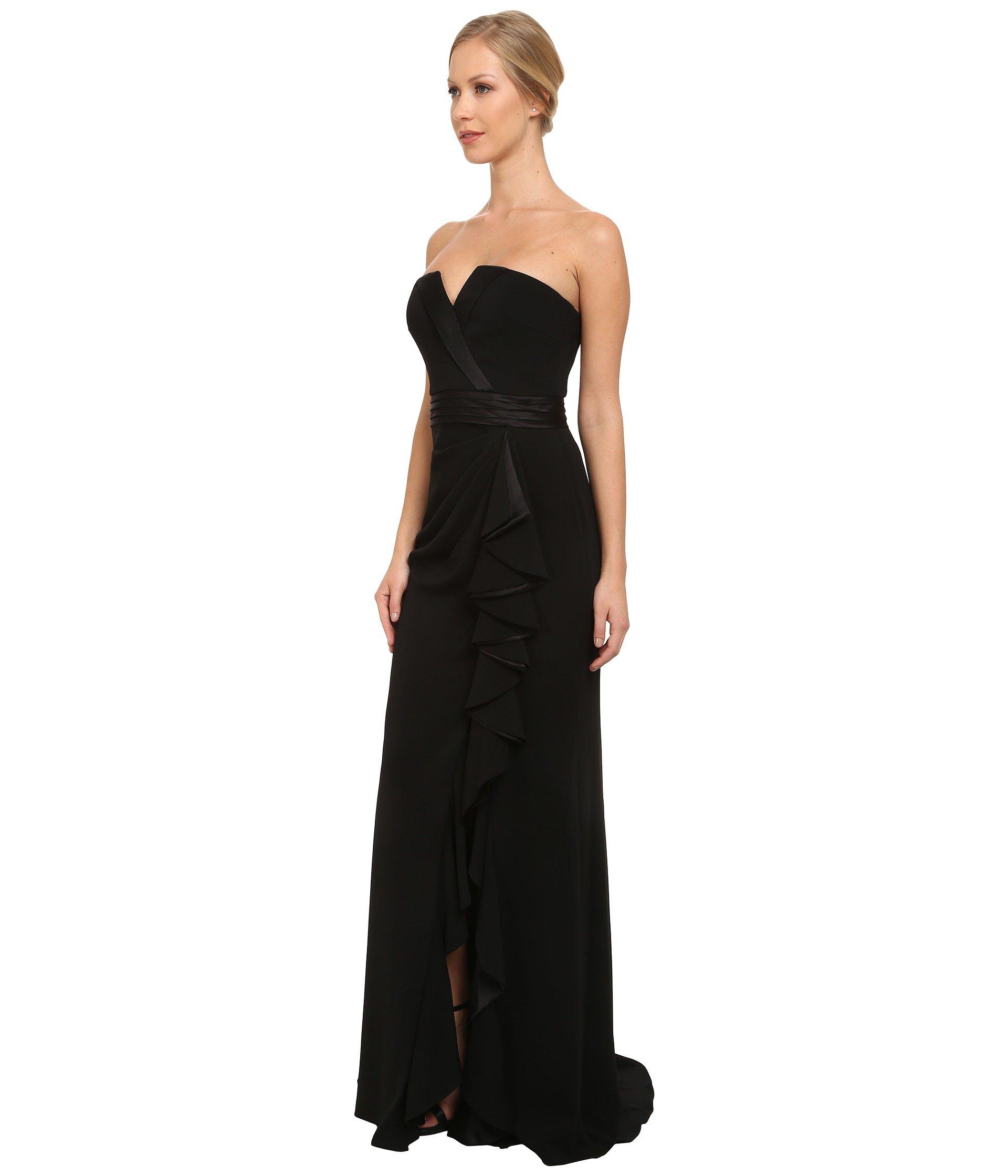 Lyst - Badgley Mischka Tuxedo Ruffle Gown in Black
