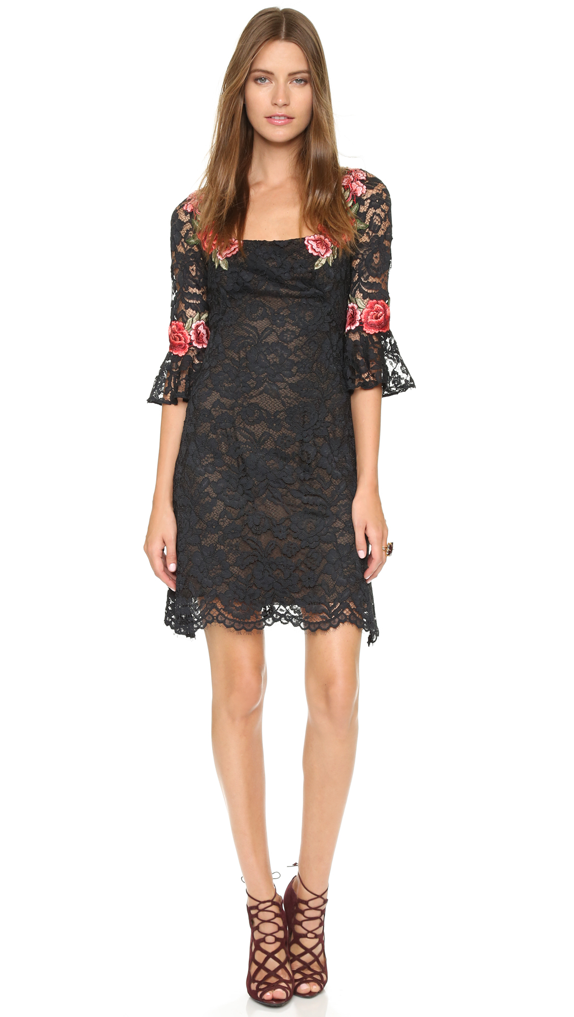 lyst notte by marchesa lace cocktail dress black in black