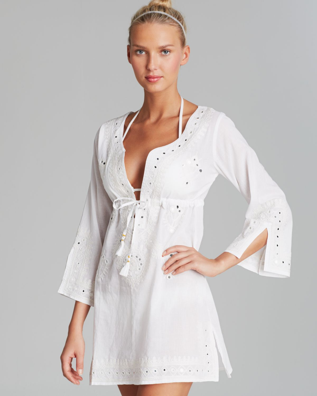 4b09c03672e Debbie Katz Shanti Mirror Cotton Tunic Swim Cover Up in White - Lyst