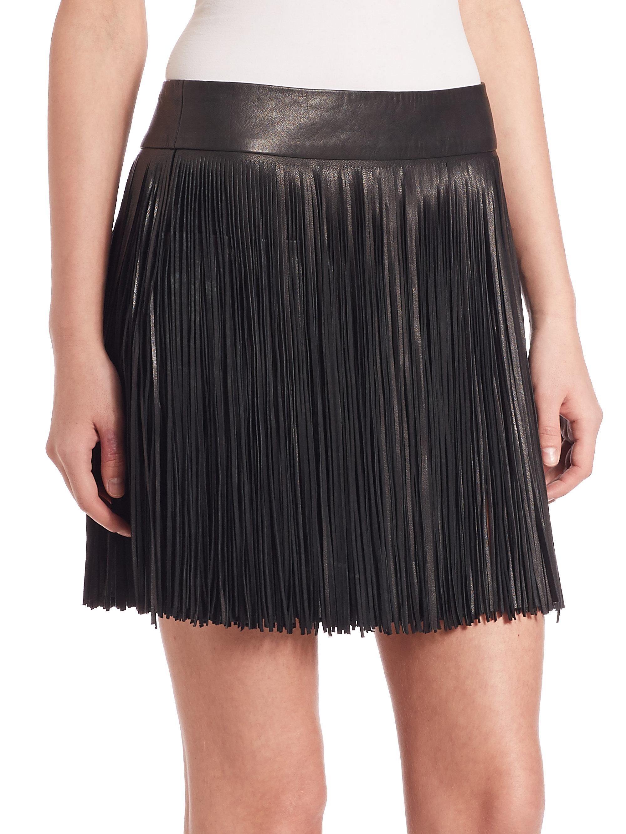 Polo ralph lauren Fringed Leather Mini Skirt in Black | Lyst
