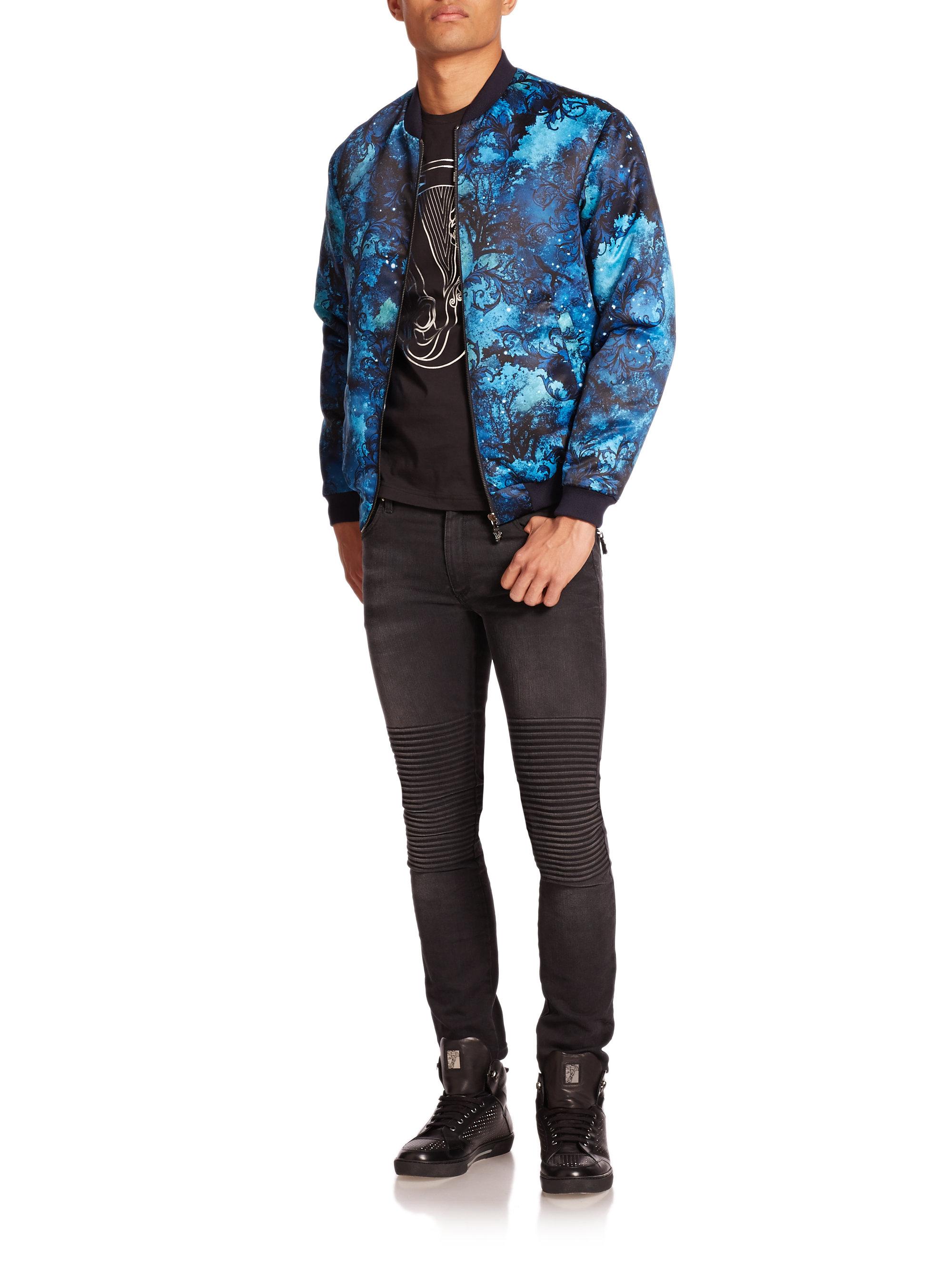Lyst - Versace Jeans Celestial-print Jacket in Blue for Men