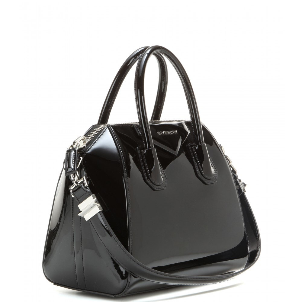 Givenchy Antigona Small Patent Leather Tote in Black | Lyst