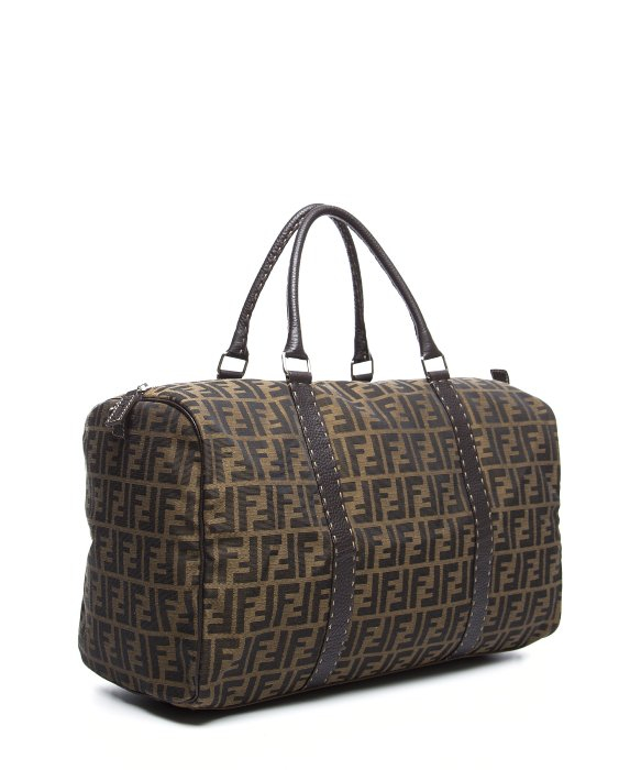 5f4146d50ad ... discount code for lyst fendi preowned brown zucca canvas duffel bag in  brown for men b8977