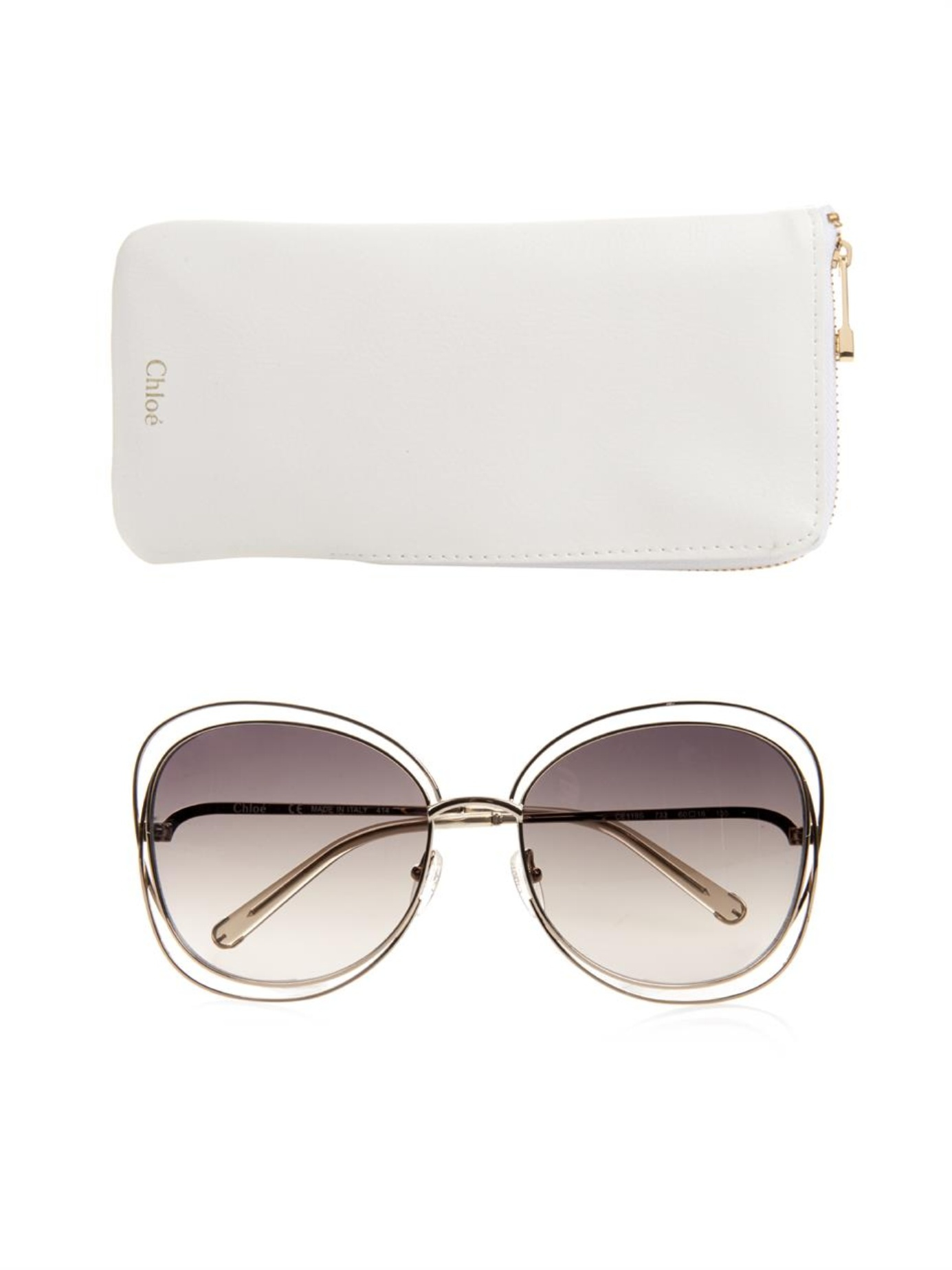 Chloe Carlina Sunglasses  chloé carlina square framed sunglasses in metallic lyst