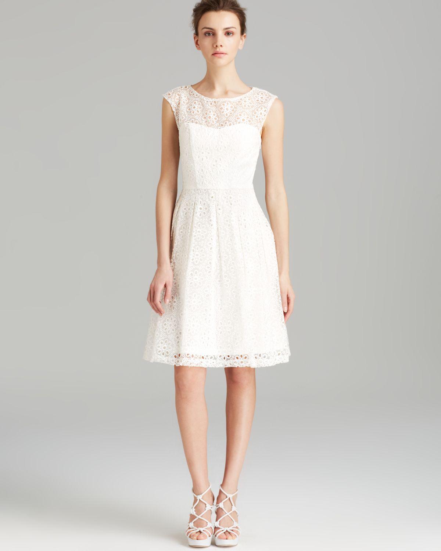 Sue Wong Dress - Cap Sleeve Eyelet Illusion In White