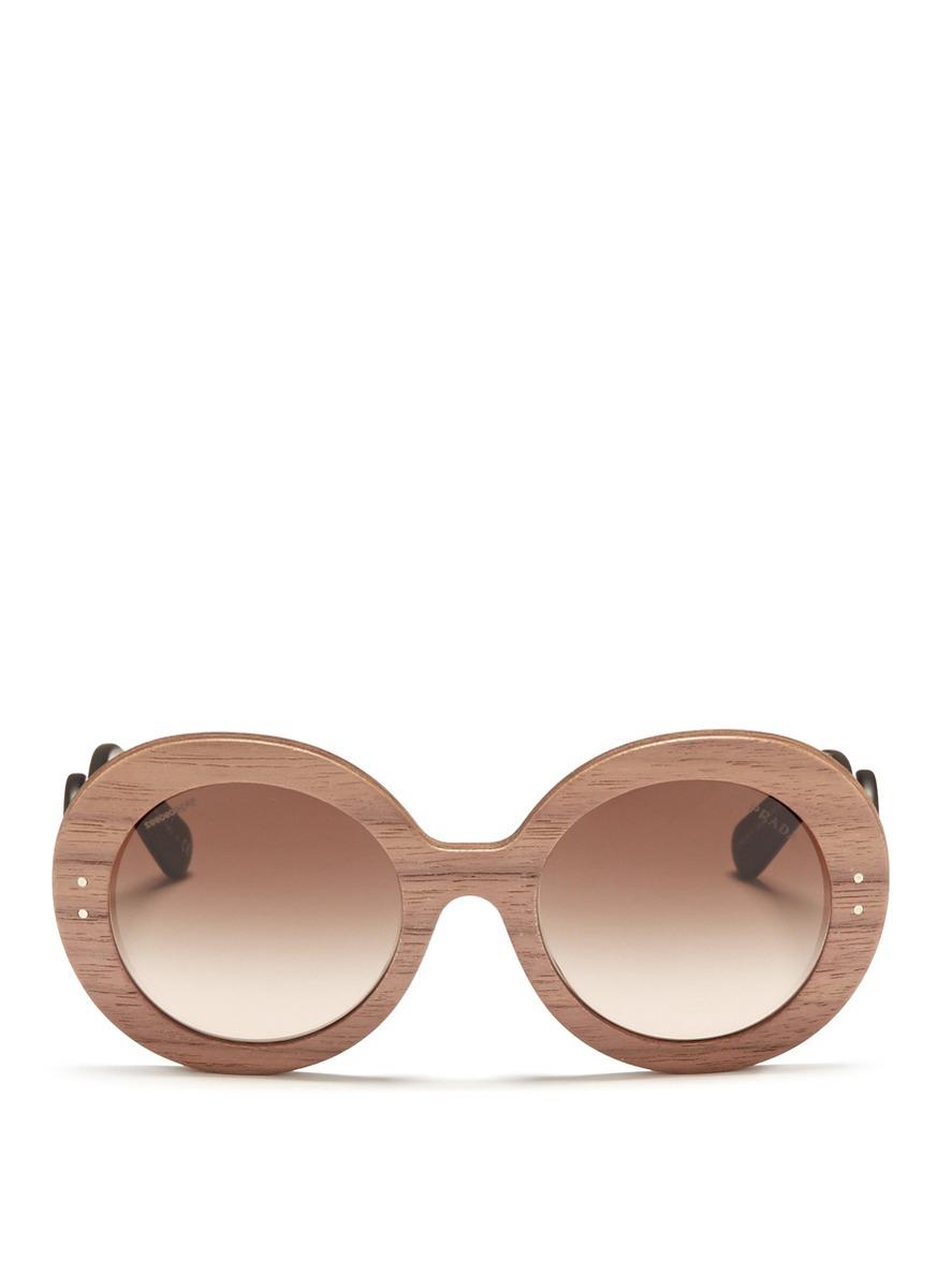 cbdfe8cd6d23 norway lyst prada swirl temple round wooden sunglasses in brown 41b83 3310a
