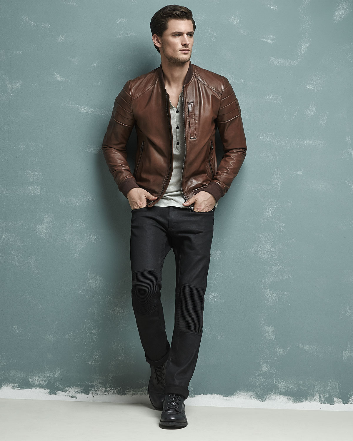 Belstaff Tumbled Lightweight Leather Jacket in Brown for Men | Lyst