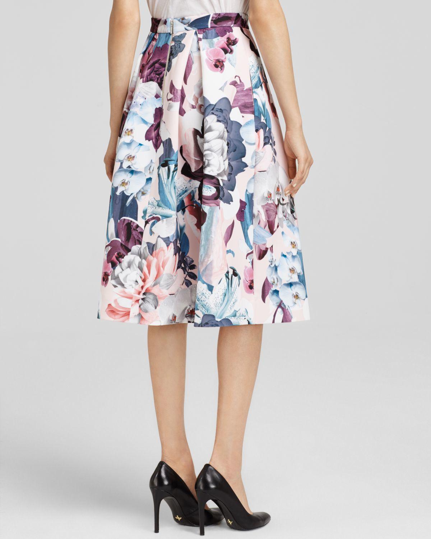 d7da8caac5 Lyst - N Nicholas Orchid Print Midi Skirt