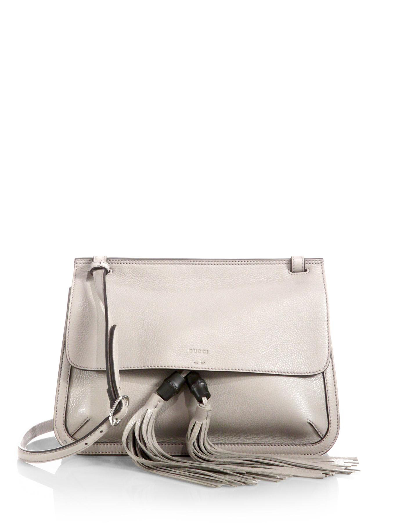 eabcb367652 Lyst - Gucci Bamboo Daily Leather Flap Shoulder Bag in Gray
