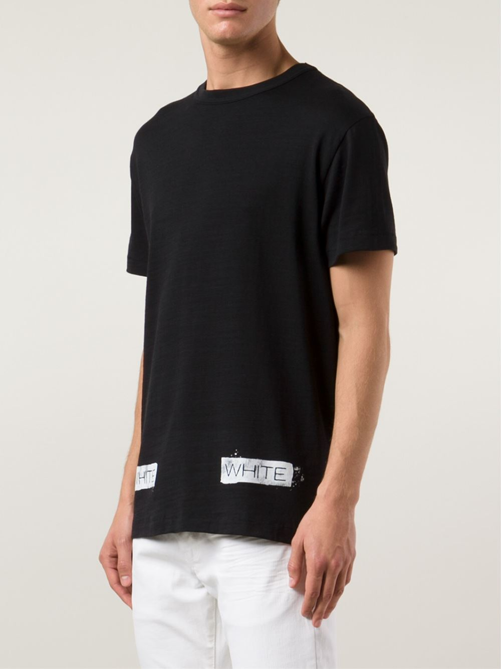Off-white c/o virgil abloh Logo-Print Cotton T-Shirt in Black for ...