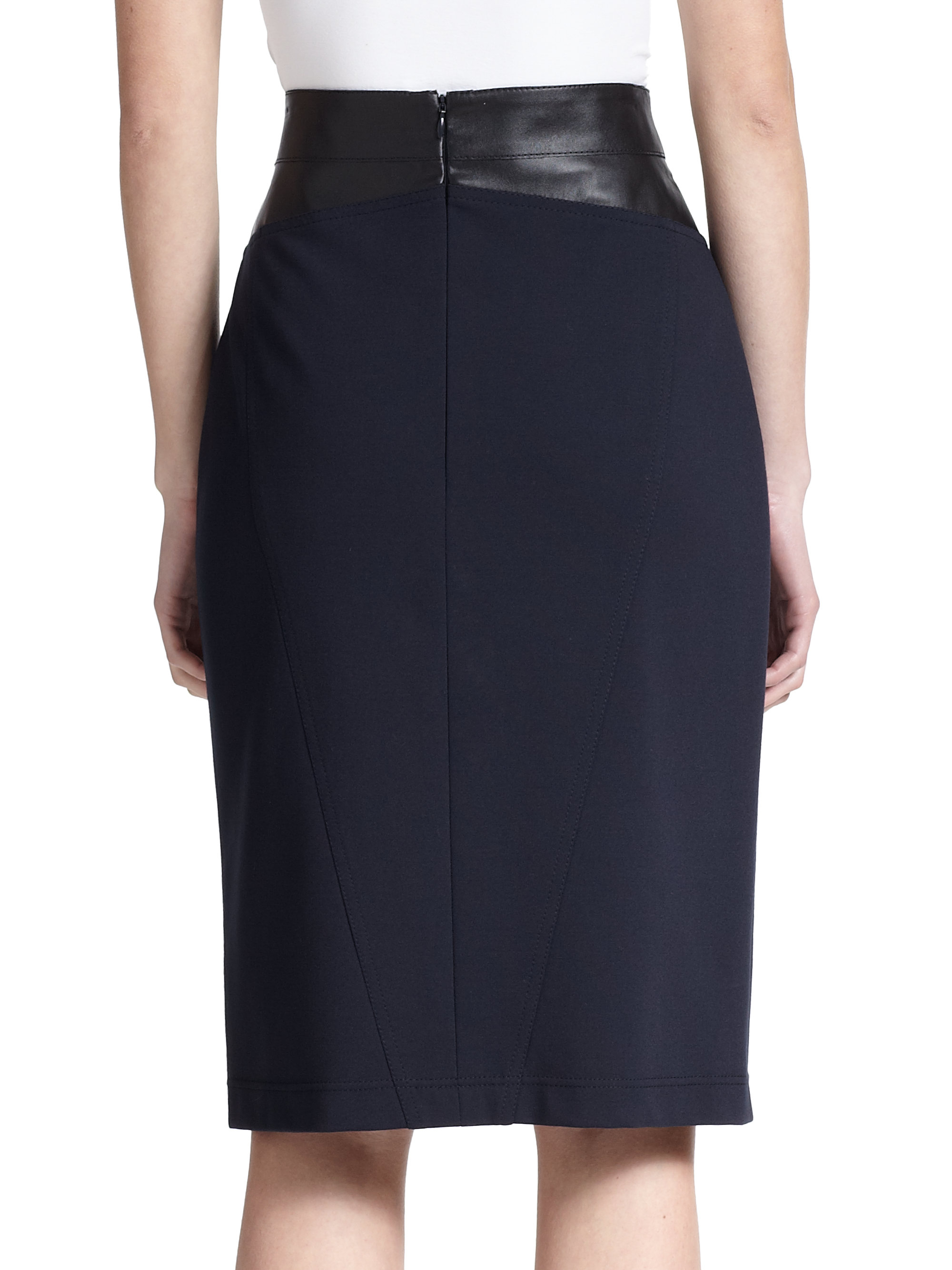 akris punto leather trim jersey pencil skirt in blue lyst