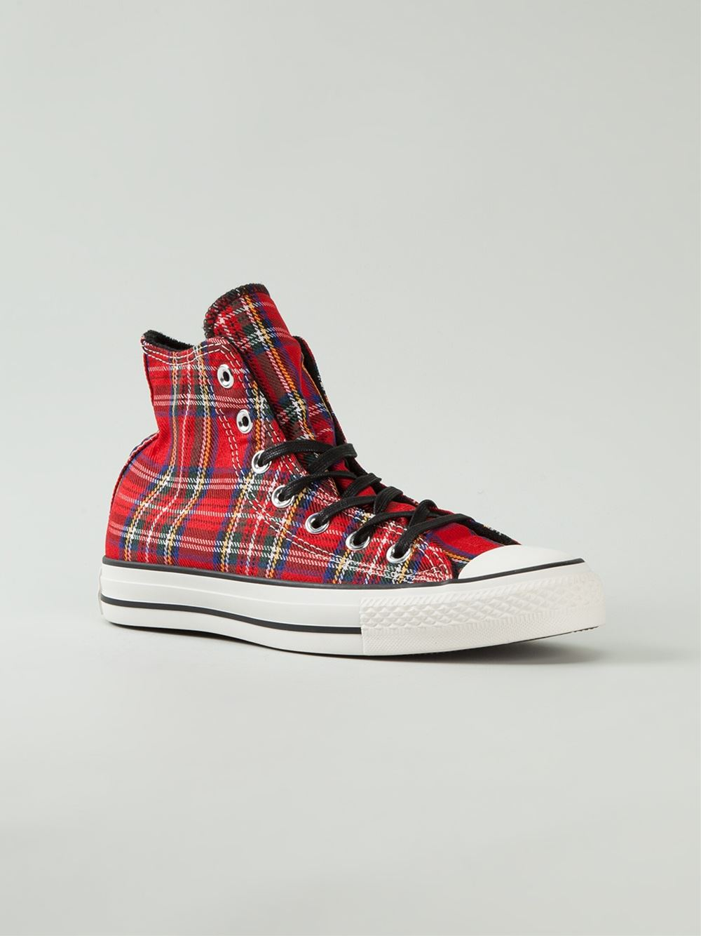 Converse Tartan Hi-top Sneakers in Red   Lyst