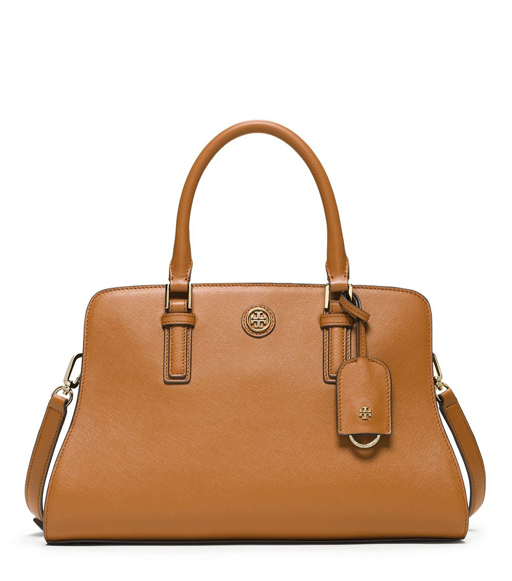 8623225cfe6 Lyst - Tory Burch Robinson Curved Satchel in Brown