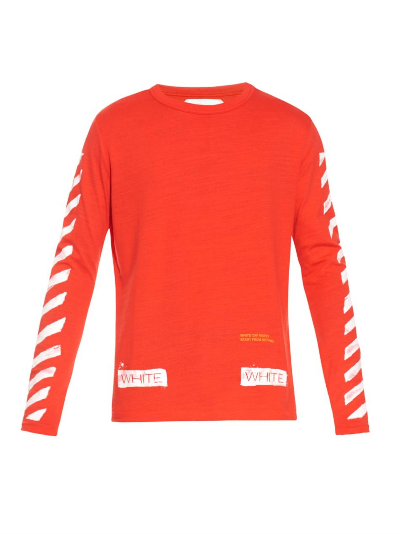 Off-white c/o virgil abloh Striped Long-Sleeved T-Shirt in Red for ...