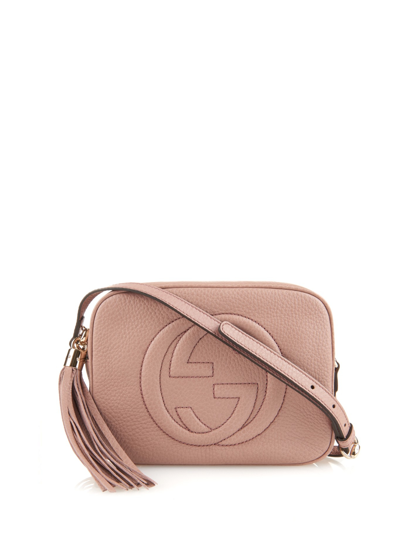 567240b659ec1e Lyst - Gucci Soho Leather Cross-Body Bag in Pink