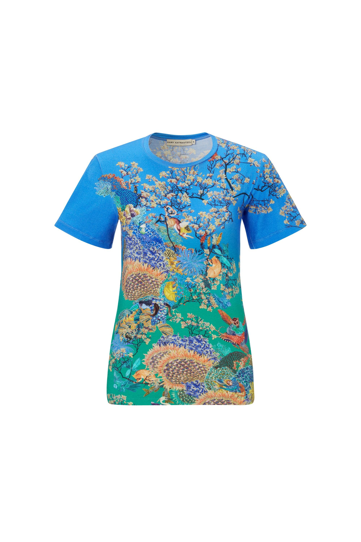 Mary katrantzou blue fitted t shirt ramora ocean lyst for Ocean blue t shirt