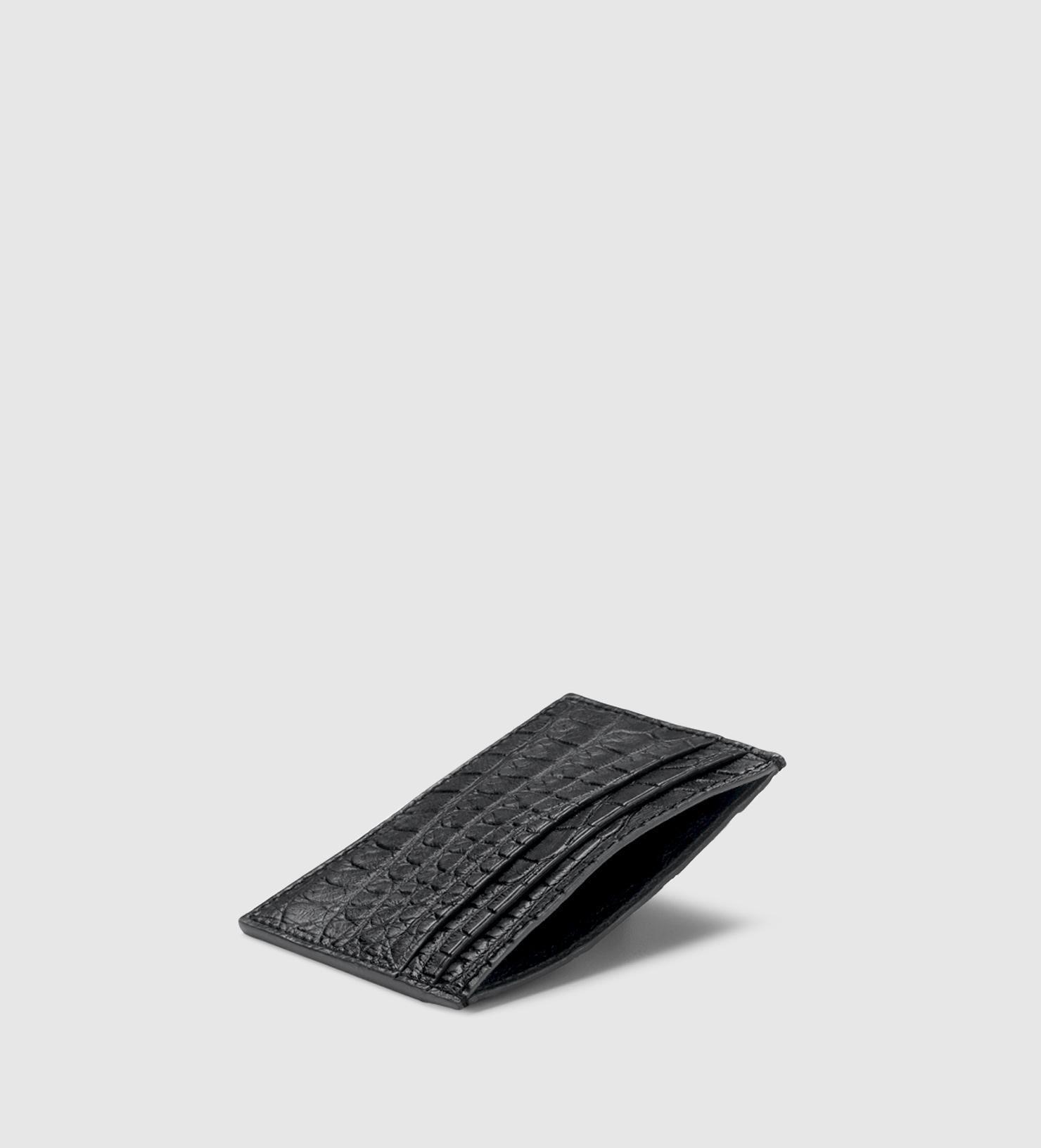 Lyst - Gucci Crocodile Card Case in Black for Men