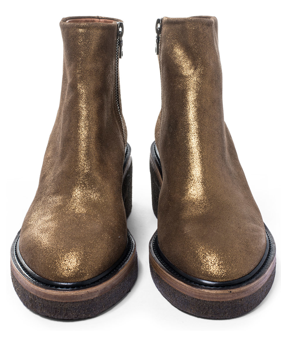 83ff1b89d26762 Dries Van Noten Gold Crepe Sole Leather Ankle Boots in Metallic - Lyst