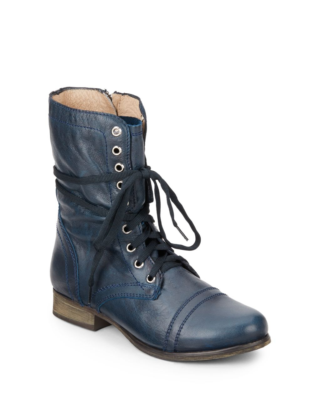 Steve Madden Troopa Leather Combat Boots In Blue Denim