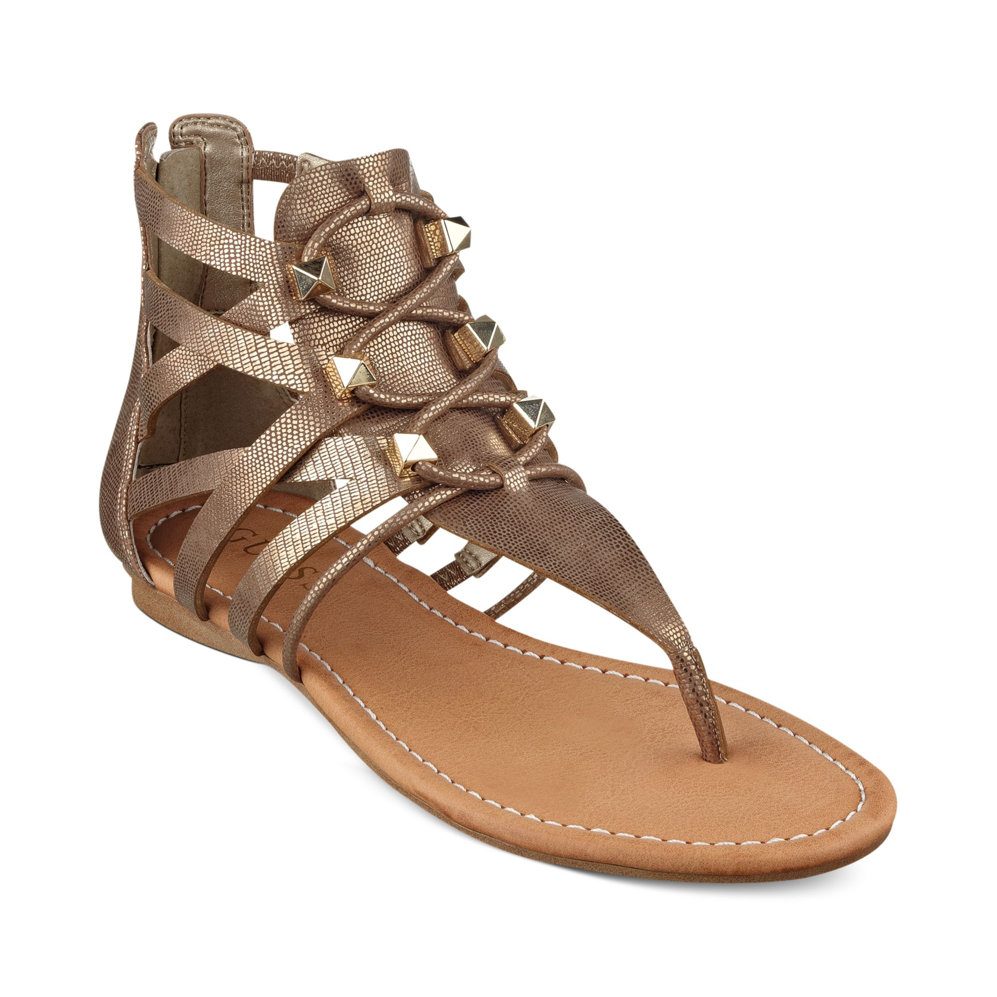 guess glando gladiator flat sandals in gold lyst