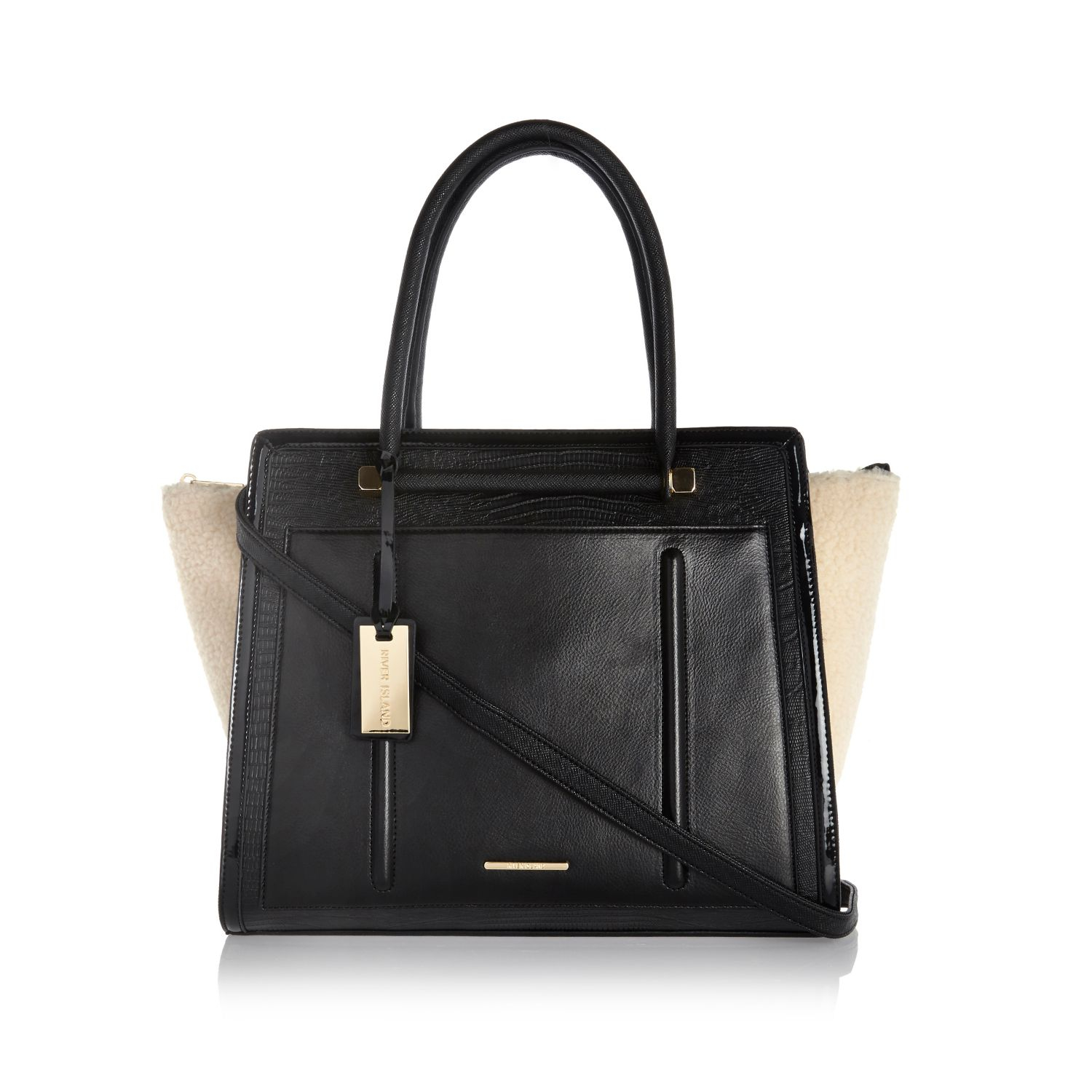 7c0bf1848d River Island Black Shearling Panel Winged Tote Bag in Black - Lyst