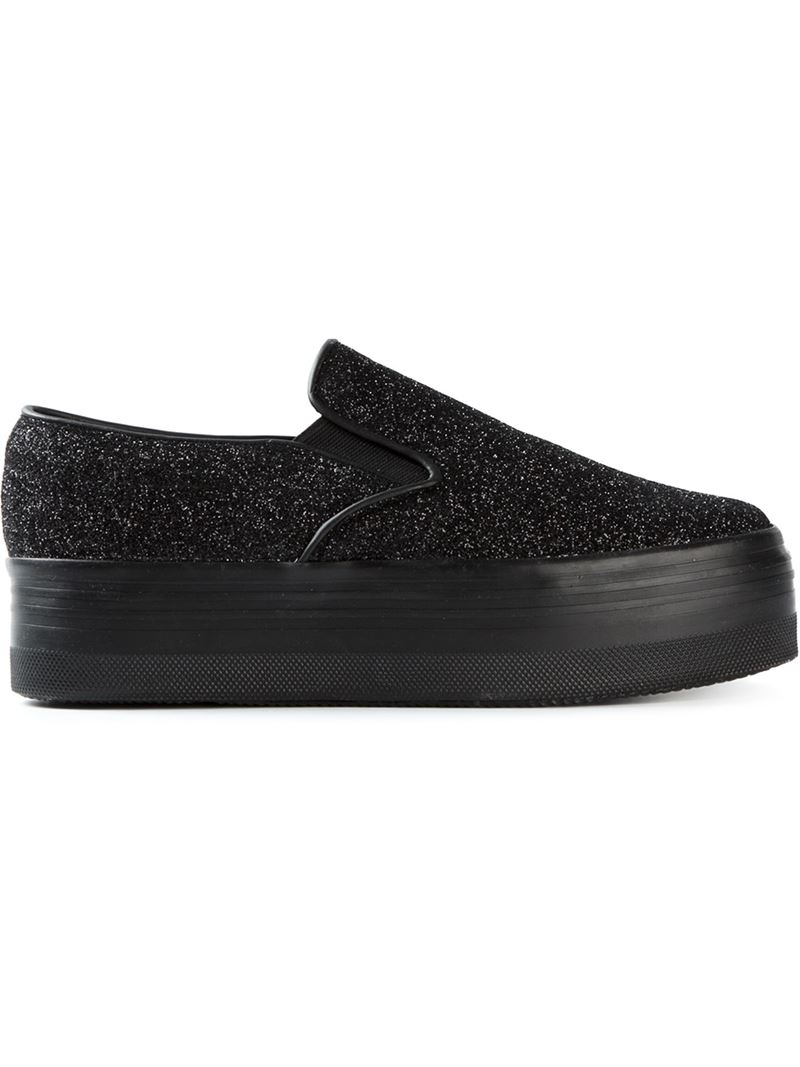 30923779e2e Lyst - Jeffrey Campbell Glitter Platform Slip-On Sneakers in Black